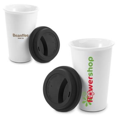 Mug de voyage thermos personnalisé publicitaire en céramique blanche