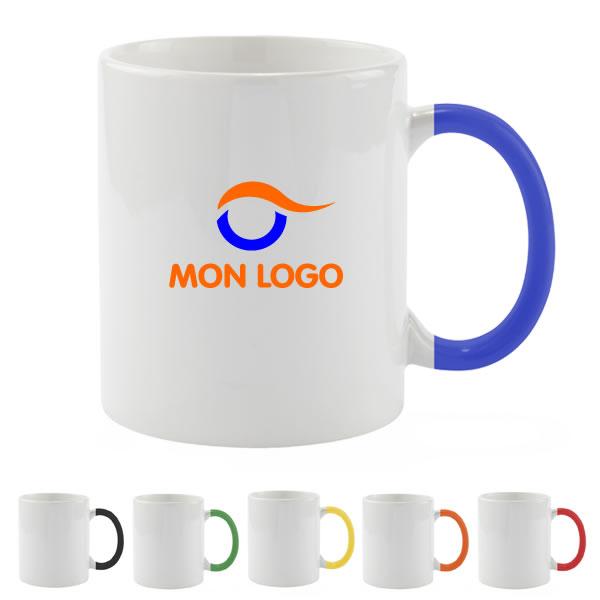 mug blanc anse couleur objet publicitaire gourde mug isotherme goodies personnalis. Black Bedroom Furniture Sets. Home Design Ideas