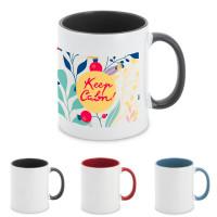 Mug personnalisable avec logo quadrichromie ou photographie pas cher publicitaire intérieur couleur anse couleur