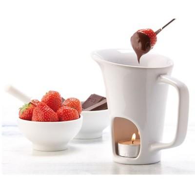 Tasse Fondue au chocolat personnalisée publicitaire avec 2 fourchettes en acier