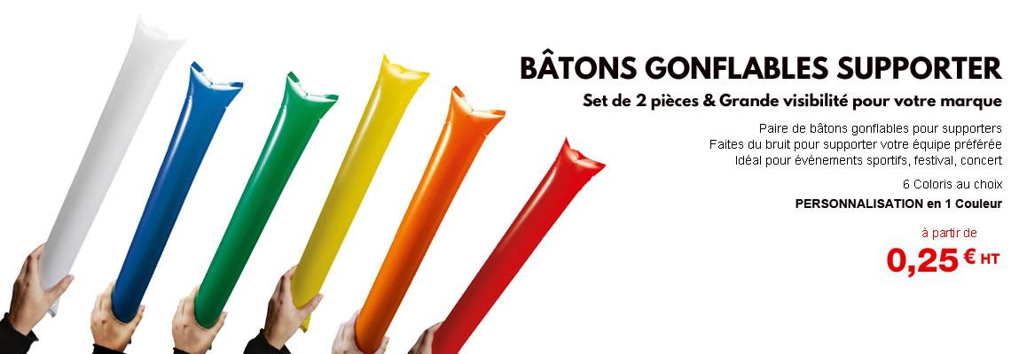 Bâton gonflable supporter personnalisé publicitaire pas cher coloris bleu vert jaune rouge blanc orange