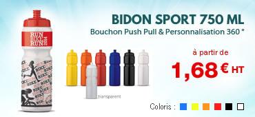 Bidon sport personnalisé 750 ml Grande contenance Coloris : noir, blanc, jaune, orange, rouge, bleu Gourde publicitaire plastique club sportif