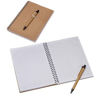 Bloc notes A5 personnalisé publicitaaire avec stylo bille et spirales