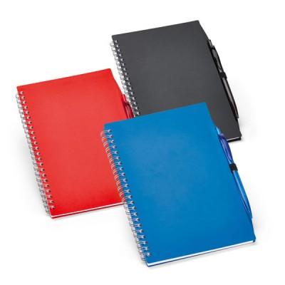 Bloc-notes A5 personnalisable avec stylo bille publicitaire coloris : noir bleu rouge