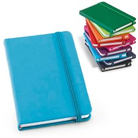 Bloc-notes publicitaire A6 avec couverture en simili cuir couleur noir bleu bleu clair vert orange rouge rose violet
