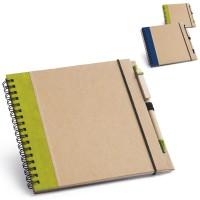 Bloc-notes personnalisé carré avec stylo publicitaire couverture bande verticale couleur bleu ou vert