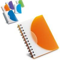 Bloc-notes personnalisé pas cher à spirales et couverture plastique bicolore orange vert bleu bleu clair violet