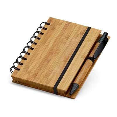 Bloc-notes publicitaire avec stylo personnalisé et couverture en bois de bambou Objet publicitaire écologique