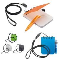Bloc notes avec stylo et tour de cou lanyard personnalisé publicitaire couverture en plastique coloré bleu ou vert ou orange ou noir ou blanc