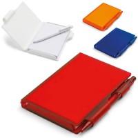 Bloc-notes A7 personnalisable publicitaire avec stylo bille et couverture personnalisé blanc bleu orange rouge