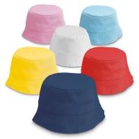 Chapeau bob enfant personnalisable publicitaire maternelle école centre de loisirs coloris bleu blanc jaune rouge rose