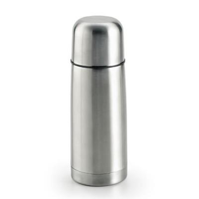 Petite bouteille isotherme thermos publicitaire personnalisé 350 ml en acier argenté