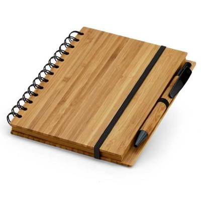 Bloc-notes personnalisé couverture bambou et stylo bille publicitaire Carnet de note écologique