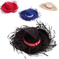 Chapeau en paille naturel personnalisé coloris : noir bleu rouge blanc Chapeau publicitaire événementiel