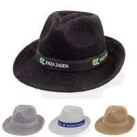 Chapeau publicitaire personnalisable forme classique Panama coloris : noir gris blanc brun