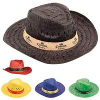 Chapeau en paille publicitaire à personnaliser Havana coloris : marron bleu jaune vert rouge