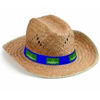 Chapeau en paille publicitaire personnalisé forme Texan