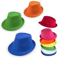 Chapeau publicitaire personnalisable pour soirée événementielle coloris bleu vert jaune orange rouge rose