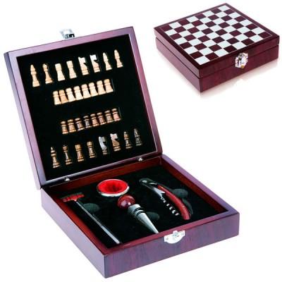 Coffret en bois jeu d'échec avec 4 accessoires vin personnalisé publicitaire