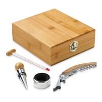 Coffret cadeau en bois avec 4 accessoires vin tire-bouchon collier thermomètre et bouchon en métal
