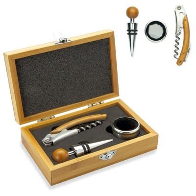 Coffret bois bambou avec 3 accessoires vin tire-bouchon collier anti-goutte et bouchon vin en métal personnalisé publicitaire