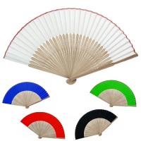 Éventail personnalisé en bambou et tissu coloré blanc bleu vert rouge ou noir Éventail espagnol publicitaire