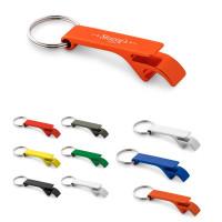 Porte-clés décapsuleur publicitaire personnalisé en aluminium coloré : argent, noir, bleu, vert, jaune, orange, rouge
