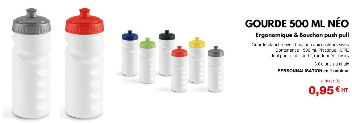 Gourde plastique personnalisée pas cher blanche avec bouchon push pull couleur (bleu vert, jaune rouge, noir, gris) Bidon sport publicitaire