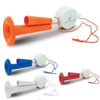 Klaxon supporter personnalisé publicitaire coloris blanc bleu rouage orange