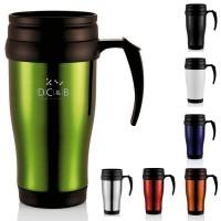 Mug de voyage personnalisé pas cher coloris : vert bleu rouge orange blanc noir argenté 350 ml Travel mug publicitaire