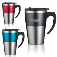 Mug de voyage personnalisé en acier avec bande de couleur (noir bleu ou rouge) 350 ml Travel mug publicitaire