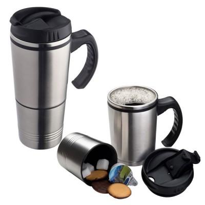 Mug isotherme personnalisé 2 en 1 compartiment boisson et compartiment sucrette et dosette café