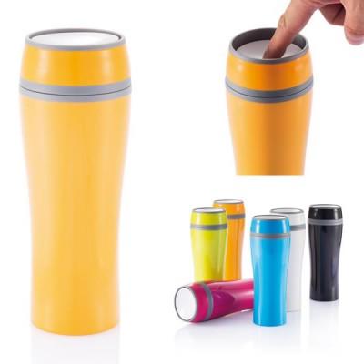 Mug isotherme original personnalisé en couleur publicitaire orange vert lime bleu noir blanc rose