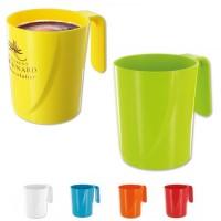 Mug plastique personnalisé 35 cl blanc jaune vert bleu rouge orange