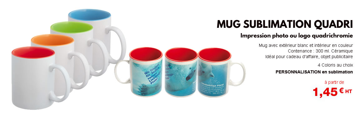 Mug personnalisé photo, photographie et quadri sublimation. Mug publicitaire personnalisable blanc pas cher