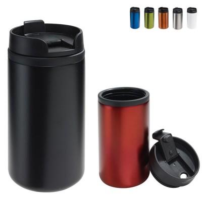Mug isotherme personnalisé publicitaire noir, blanc, argenté, bleu, vert, orange, rouge