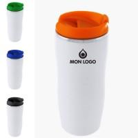 Mug de voyage personnalisable publicitaire blanc 400 ml Zicox