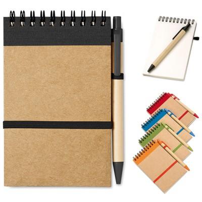Bloc notes personnalisé à spirales avec stylo bille publicitaire couverture brun et couleur noir, bleu, vert, orange, rouge