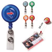 Porte badge enrouleur personnalisé quadri pour infirmière, bureau, salon, congrès ou publicitaire 5 coloris au choix : bleu, rouge, orange, vert, noir