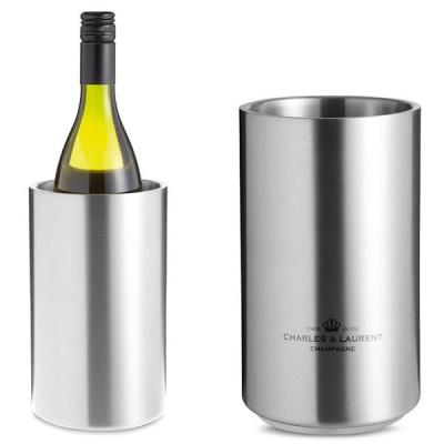 Seau à vin personnalisable publicitaire double paroi isotherme en acier inoxydable