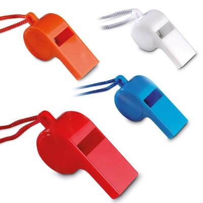 Sifflet personnalisé avec cordon coloris : rouge bleu blanc orange