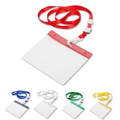 Tour de cou porte-badge et carte de visite avec lanyard de différents coloris : blanc, bleu, vert, jaune, rouge