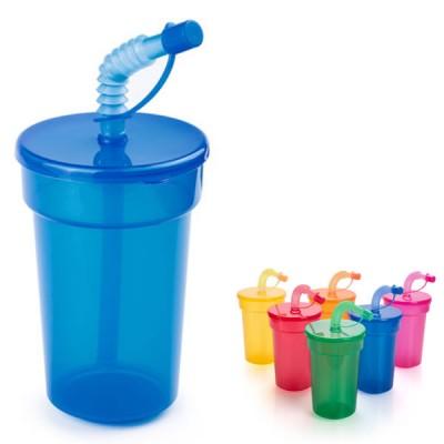 Gobelet enfant publicitaire personnalisé avec paille coloris : bleu vert jaune orange rouge rose violet 400 ml