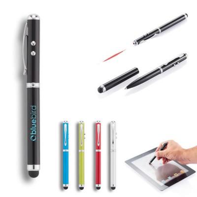 Stylon bille avec fonction stylet tablette et pointeur laser et mini lampe torche. Coloris : noir, bleu, vert, rouge, blanc