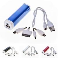 Power bank personnalisé 2200 mAh avec 4 embouts de connexion pour téléphone micro usb iPhone et samsung. Power bank publicitaire pas cher, coloris : noir, argenté, bleu, rouge