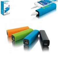 Batterie de secours 2200 mAh publicitaire personnalisé quadri. Power bank pas cher, coloris : noir, bleu, vert, orange.