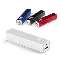 Batterie de secours personnalisé pour téléphone 2600 mAh. Power bank publicitaire en aluminium, coloris : blanc, bleu, rouge, noir