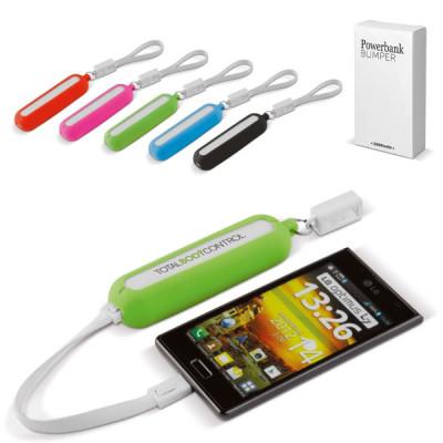 Batterie de secours smartphone 2000 mah personalisé publicitaire noir, bleu, vert, rose, orange