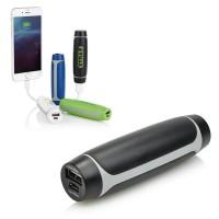 Batterie de secours personnalisé 2200 mAh batterie externe pour iPhone smartphone Samsung. Power bank publicitaire noir, blanc, bleu et vert.