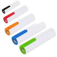 Batterie de secours pas cher publicitaire personnalisé bicolore 2200 mAh. Power bank noir, bleu, vert, orange, rouge